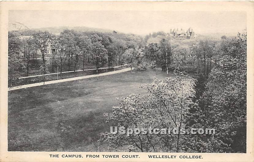 The Campus of Wellesley College from Tower Court - Massachusetts MA Postcard