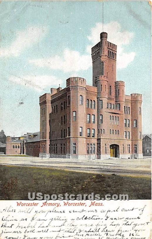 Worcester Armory - Massachusetts MA Postcard