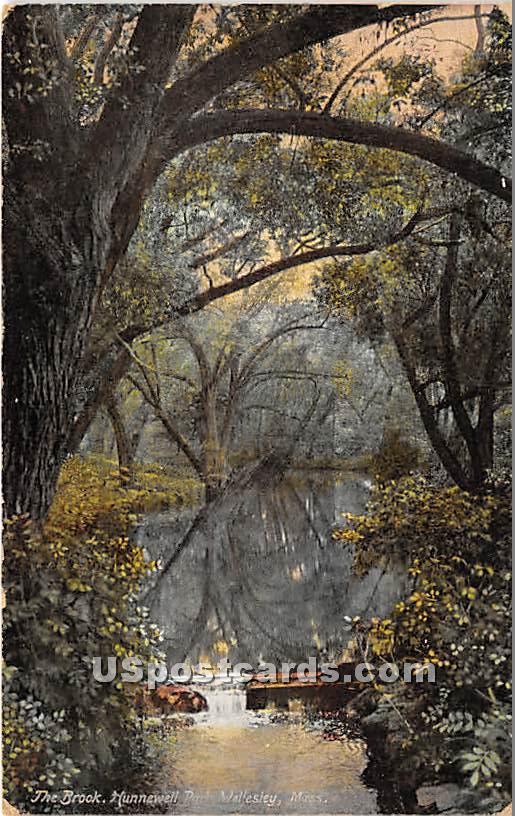 The Brook at Hunnewell Park - Wellesley, Massachusetts MA Postcard