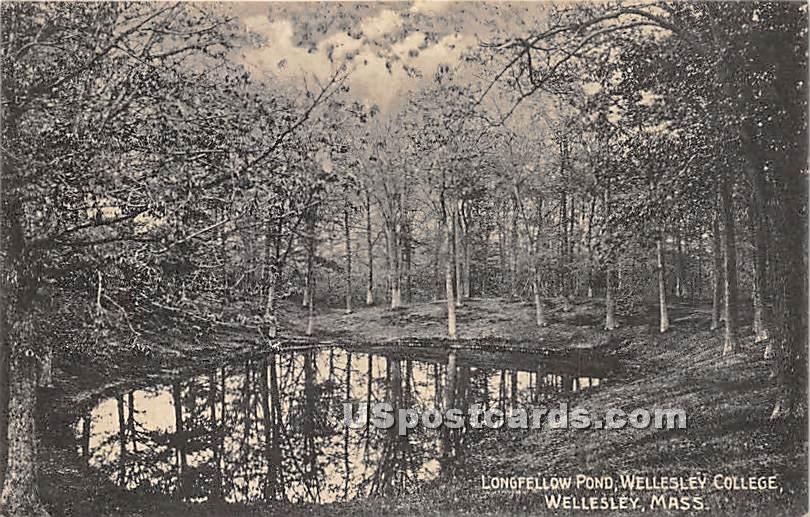Longfellow Pond at Wellesley College - Massachusetts MA Postcard