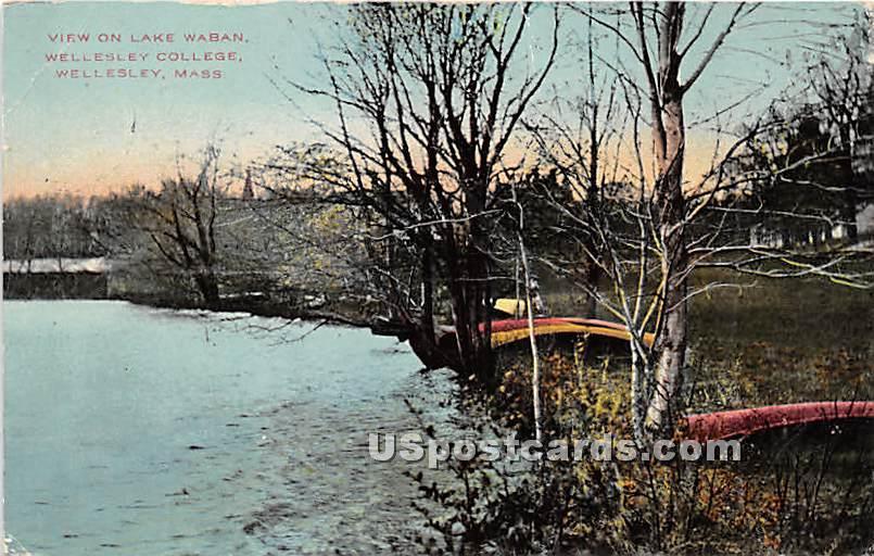 Lake Waban at Wellesley College - Massachusetts MA Postcard