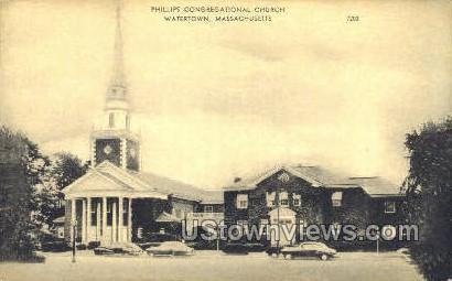 Phillips Congregaional Church - Watertown, Massachusetts MA Postcard
