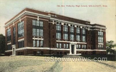 New Wellesley High School - Massachusetts MA Postcard
