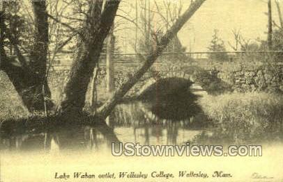 Lake Waban Outlet, Wellesley College - Massachusetts MA Postcard