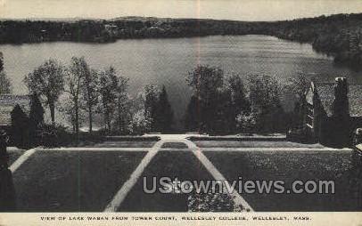 Lake Waban, Tower Court, Wellesley College - Massachusetts MA Postcard