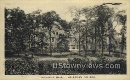 Founders Hall, Wellesley College - Massachusetts MA Postcard