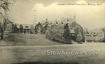 Severance Hall & Tower Court - Wellesley, Massachusetts MA Postcard
