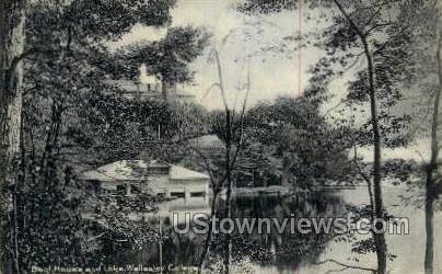 Boat House & Lake, Wellesley College - Massachusetts MA Postcard