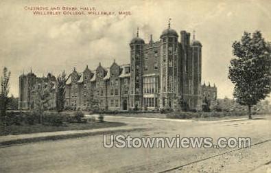 Cazenove & Beebe Halls, Wellesley College - Massachusetts MA Postcard