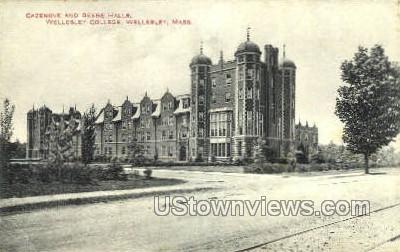 Cazenove & Beebe Halls - Wellesley, Massachusetts MA Postcard