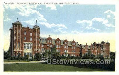 Pomeroy & Shafer Halls - Wellesley, Massachusetts MA Postcard