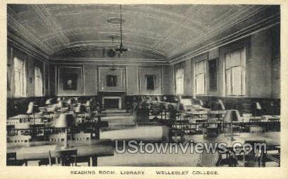Reading Room, Library - Wellesley, Massachusetts MA Postcard