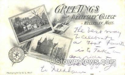 Greetings From - Wellesley, Massachusetts MA Postcard