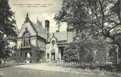 Wellesley Free Library & Town Hall - Massachusetts MA Postcard