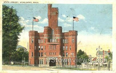 State Armory - Worcester, Massachusetts MA Postcard