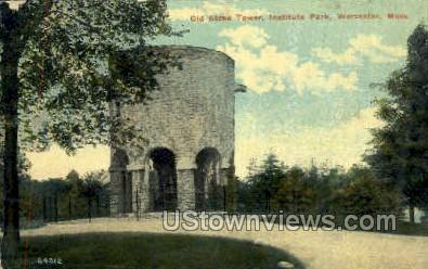 Old Stone Tower, Institute Park - Worcester, Massachusetts MA Postcard