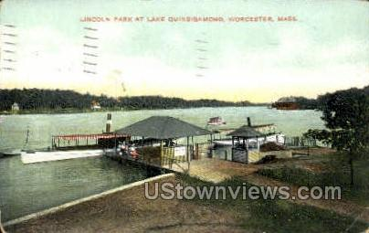 Lincoln Park, Lake Quinsigamond - Worcester, Massachusetts MA Postcard