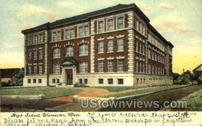 High School - Worcester, Massachusetts MA Postcard