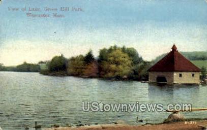 Lake, Greenhill Park - Worcester, Massachusetts MA Postcard