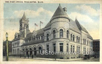 The Post Office - Worcester, Massachusetts MA Postcard