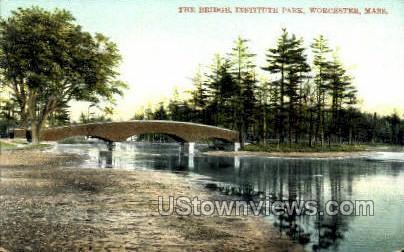 The Bridge, Institute Park - Worcester, Massachusetts MA Postcard