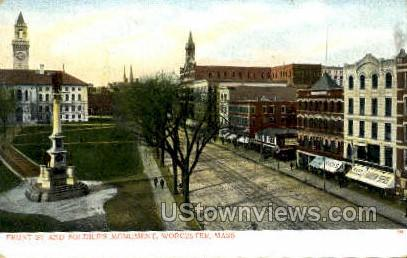 Soldiers Monument - Worcester, Massachusetts MA Postcard