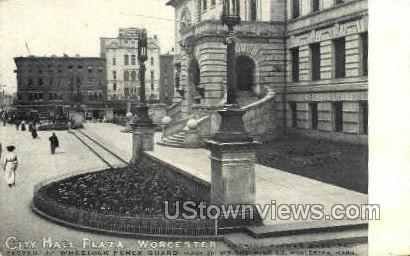 City Hall Plaza - Worcester, Massachusetts MA Postcard