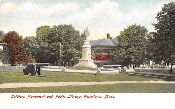 Soldiers Monument & Public Library Watertown, Massachusetts Postcard