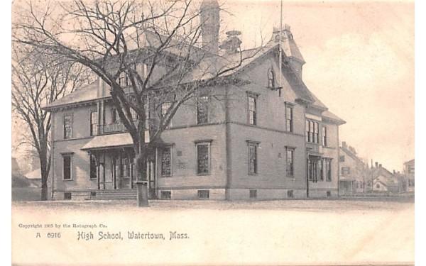 High School Watertown, Massachusetts Postcard