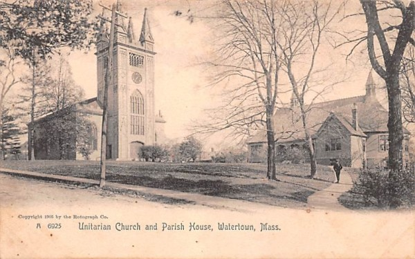 Unitarian Church & Parish House Watertown, Massachusetts Postcard