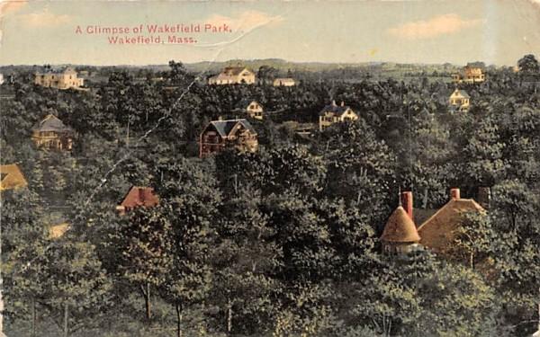 A Glimpse of Wakefield Park Massachusetts Postcard