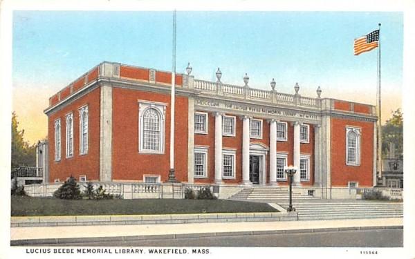 Lucius Beebe Memorial Library Wakefield, Massachusetts Postcard