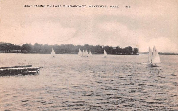 Boat Racing on Lake Quannapowitt Wakefield, Massachusetts Postcard