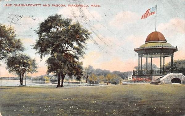 Lake Quannapowitt & Pagoda Wakefield, Massachusetts Postcard