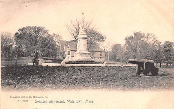 Soldiers Monument Watertown, Massachusetts Postcard