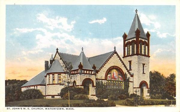 St. John's M.E. Church Watertown, Massachusetts Postcard