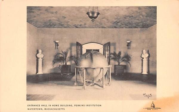 Entrance Hall in Howe Building Watertown, Massachusetts Postcard