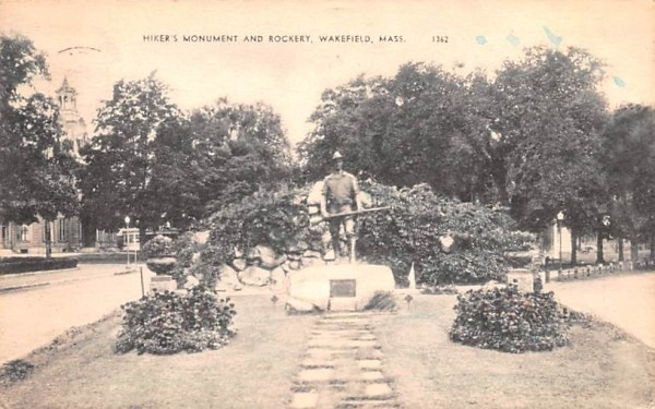 Hiker's Monument & Rockery Wakefield, Massachusetts Postcard