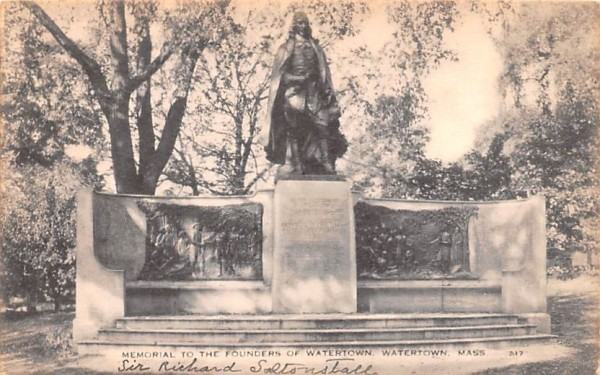 Memorial to the Founders of Watertown Massachusetts Postcard