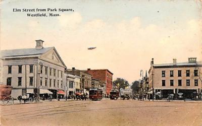 Elm Street from Park Square Westfield, Massachusetts Postcard
