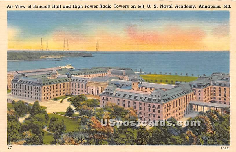 Bancroft Hall & High Power Radio Tower - Annapolis, Maryland MD Postcard