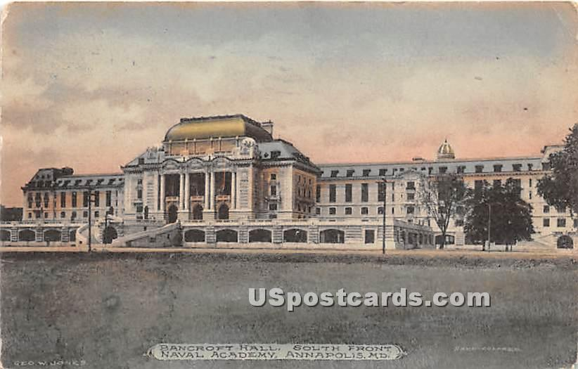Bancroft Hall, South Front, Naval Academy - Annapolis, Maryland MD Postcard