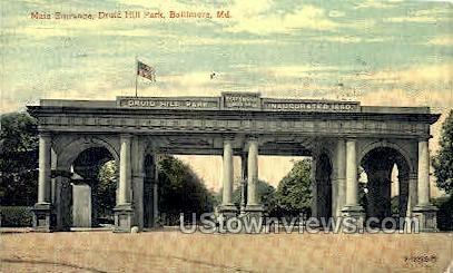 Main Entrance, Druid Hill Park - Baltimore, Maryland MD Postcard