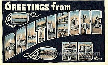 Greetings From - Baltimore, Maryland MD Postcard