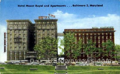 Hotel Mount royal & Apartments - Baltimore, Maryland MD Postcard