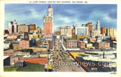 Light St. & Wharves - Baltimore, Maryland MD Postcard