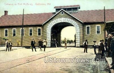 Entrance, Fort NcHenry - Baltimore, Maryland MD Postcard