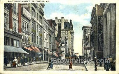 Baltimore St. - Maryland MD Postcard