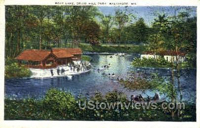 Boat Lake, Druid Hill Park - Baltimore, Maryland MD Postcard