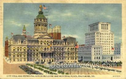 Memorial Plaza - Baltimore, Maryland MD Postcard